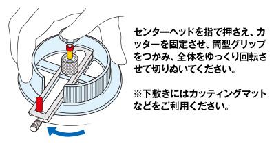 使い方:センターヘッドを指で押さえ、カッターを固定させ、筒型グリップをつかみ、全体をゆっくり回転させて切りぬいてください。※下敷きにはカッティングマットなどをご利用ください。
